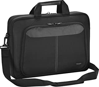 Targus Intellect Slim Slipcase Bag with Durable Water-Resistant Nylon, Two Large Exterior Pockets, Removable Shoulder Strap, Protective Sleeve for 15.6-Inch Laptop and Tablet, Black (TBT240US)