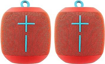 2 Pack Ultimate Ears WONDERBOOM Bluetooth Wireless Ultra-Portable Waterproof Speaker - Fireball Red (Renewed)