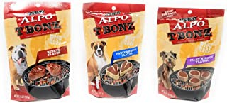 Purina T-Bonz Steak Shaped Dog Treats 3 Flavor Variety Bundle: (1) Purina TBonz Porterhouse Flavor, (1) Purina TBonz Ribeye Flavor, and (1) Tiny TBonz Filet Mignon Flavor, 4.5 Ounces Each (3 Bags Total)