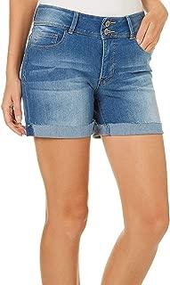 YMI Junior Women's Wannabettashape Mid-Rise 2-Button Cuffed Shorts (Ocean Blue, 1)