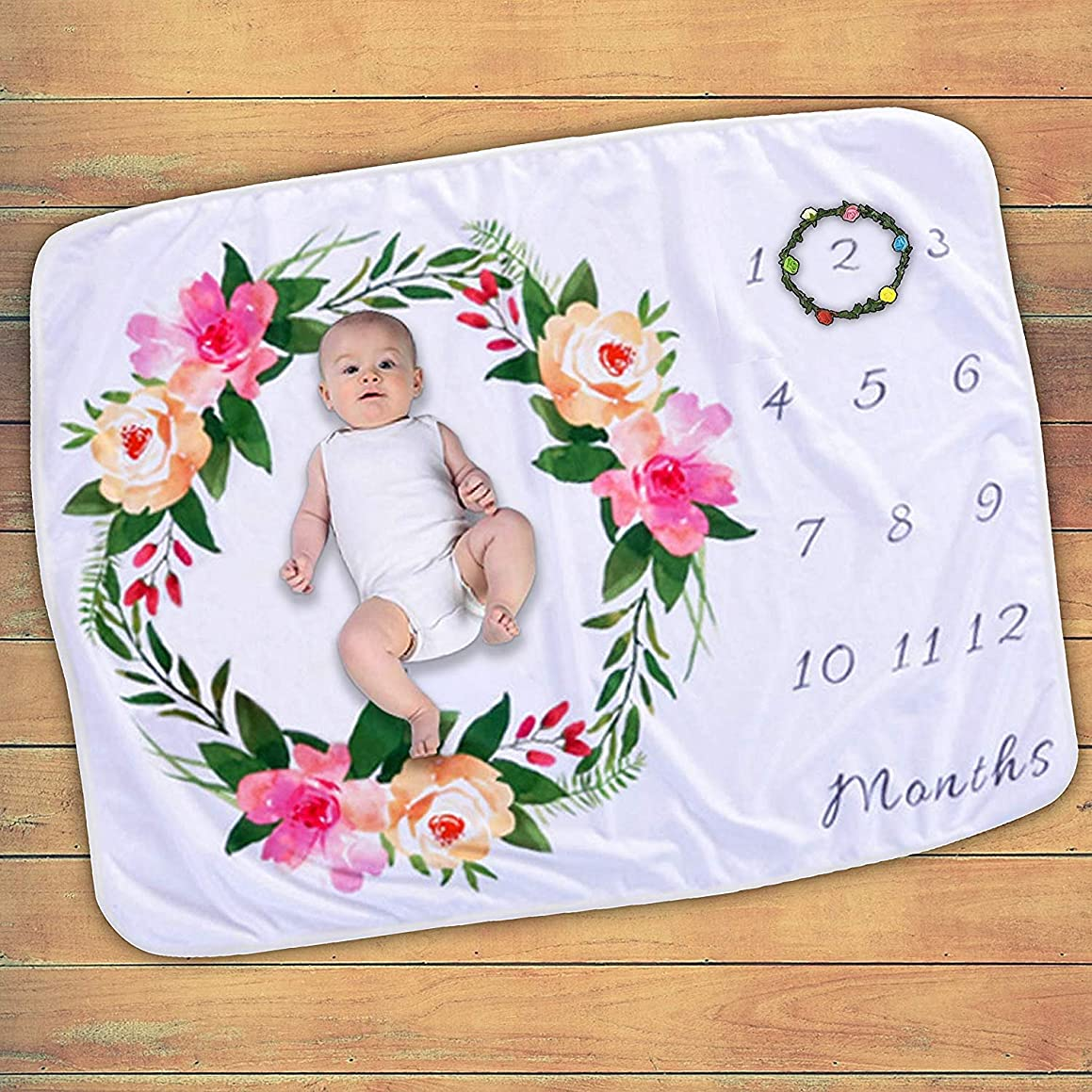 Baby Month Blanket, Soft and Not Easy to Wrinkle Material Baby Milestone Blanket, Cute and Simple Pattern Photography Backdrop Photo Prop for Newborn Boy & Girl (Floral)