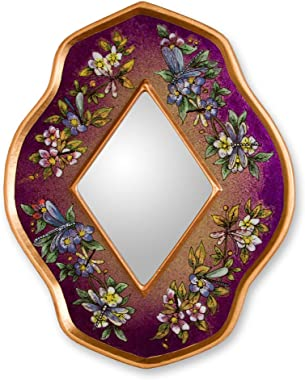 NOVICA Handcrafted Floral Purple Summer Garden' Reverse Painted Glass Mirror
