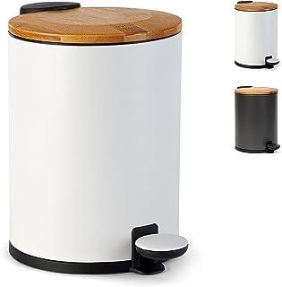 Kazai. Poubelle pour Salle de Bain en Bambou Fermeture en Douceur et Antidérapante | 3 litres | Blanc
