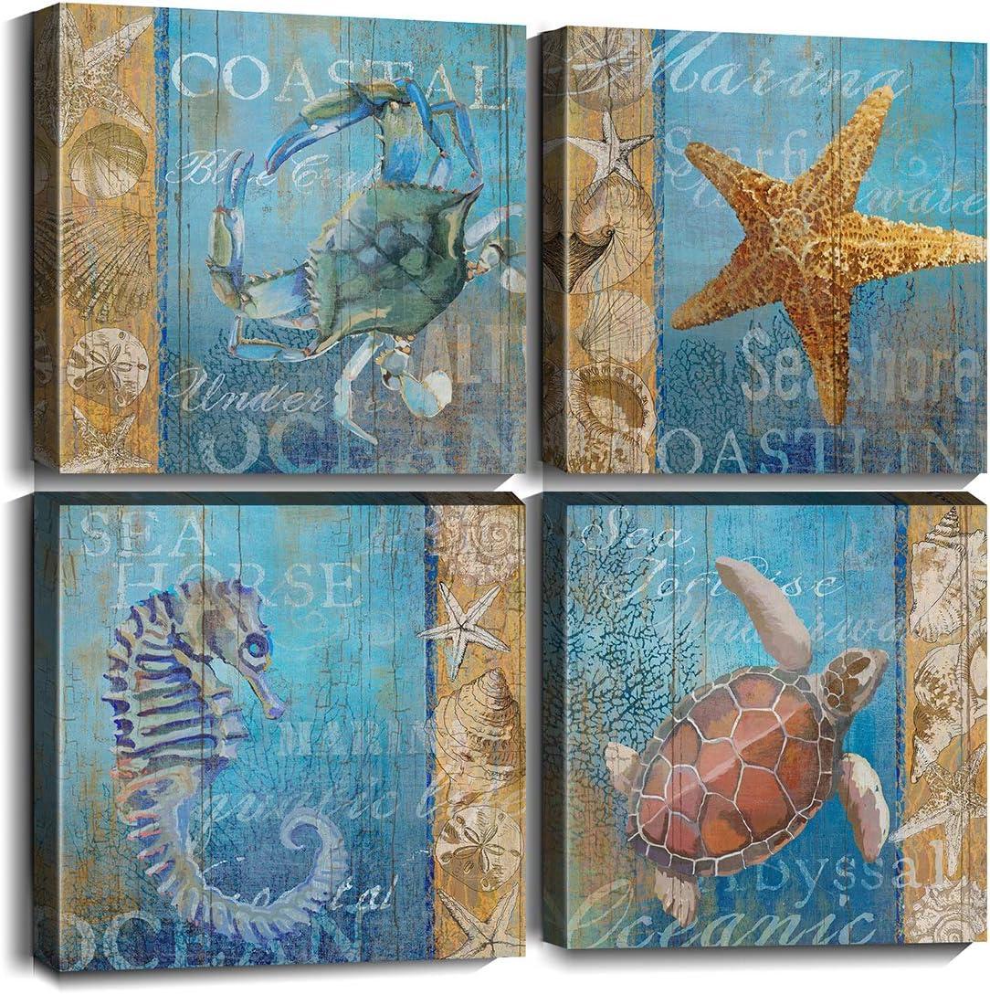 Merrleem Sea Turtle Wall Cheap Max 42% OFF Art Print Ocean Anima Starfish Painting