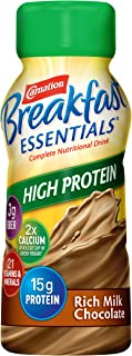 Carnation Breakfast Essentials High Protein Ready To Drink, Rich Milk Chocolate, 8 Ounce Bottle (Pack of 6)