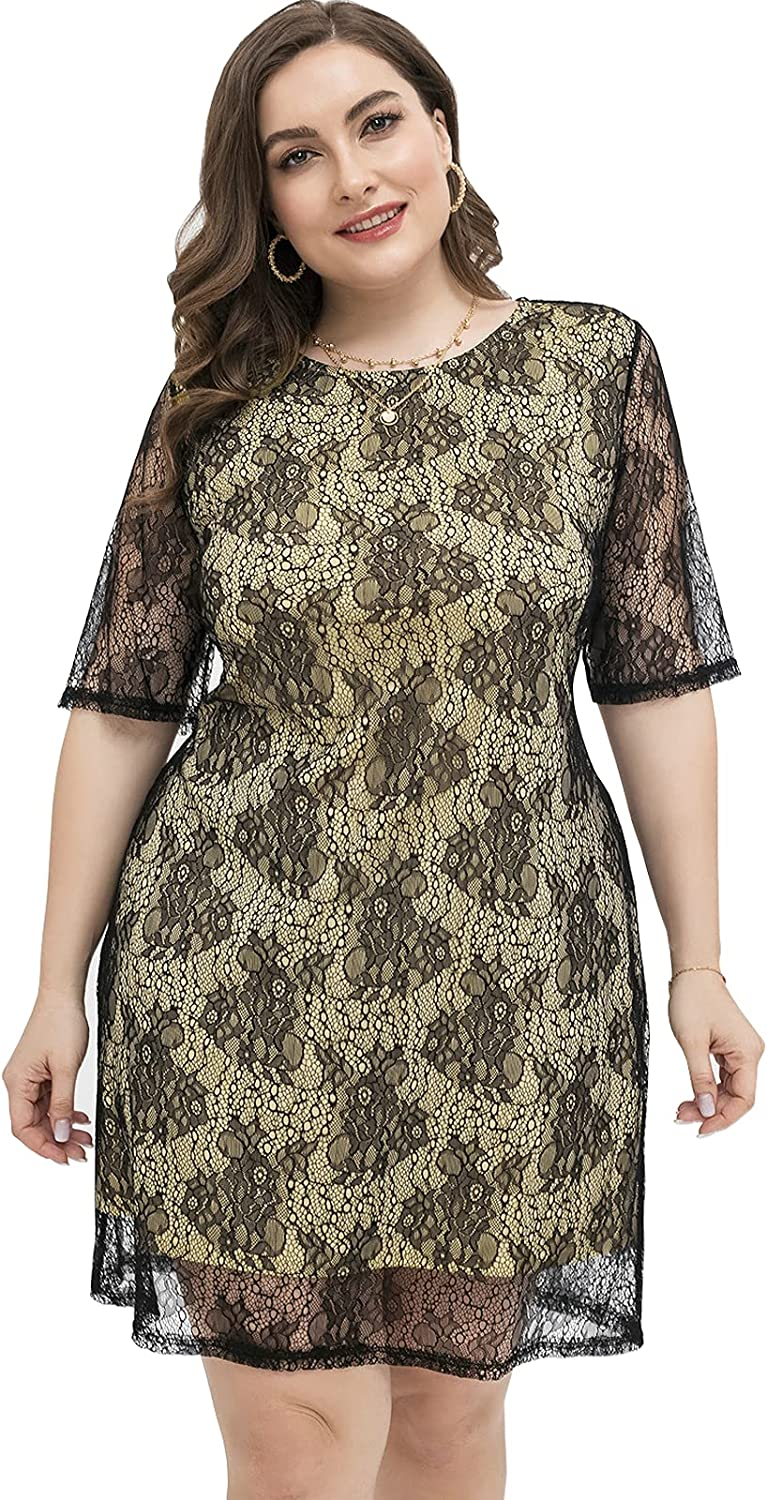 Women Plus Size Summer Floral Lace Cocktail Dresses Party Date Night Out