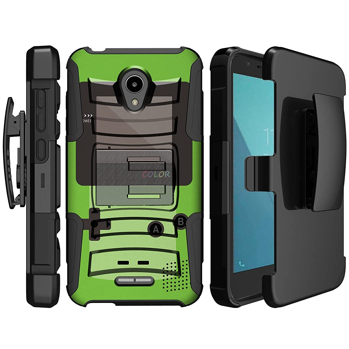 MINITURTLE Compatible with Alcatel Verso, Ideal Xcite, Raven A574BL, Fiji [MINITURTLE Kickstand Belt Clip Case] Ultimate Rugged Hoslter Hybrid Cover - Green Game Color