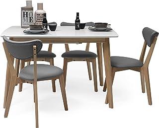 Homely - Conjunto de Comedor de diseño nórdico MELAKA Mesa Extensible de 120/160x80 cm Blanco-Roble y 4 sillas tapizadas -...