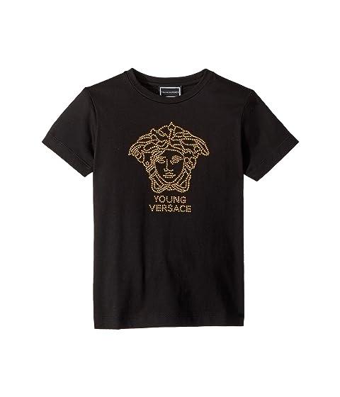 Versace Kids Short Sleeve Embellished Medusa Logo T-Shirt (Big Kids)