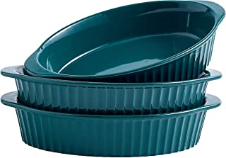 Swuut Au Gratin Pan,Small Casserole Dishes for Baking-Set of 3,Oven Safe Au Gratin Dish with Handle (Green)
