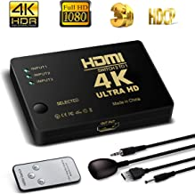 HDMI Switcher 3X1, 4K Support HDCP 1080p Mini 3 in 1 out HDMI Swicth HDMI Splitter Intelligent 4 Port 4K HDMI Audio Switcher Selector Splitter Amplifier Adapter with IR Remote for PCs XBO (3 in 1 Out)