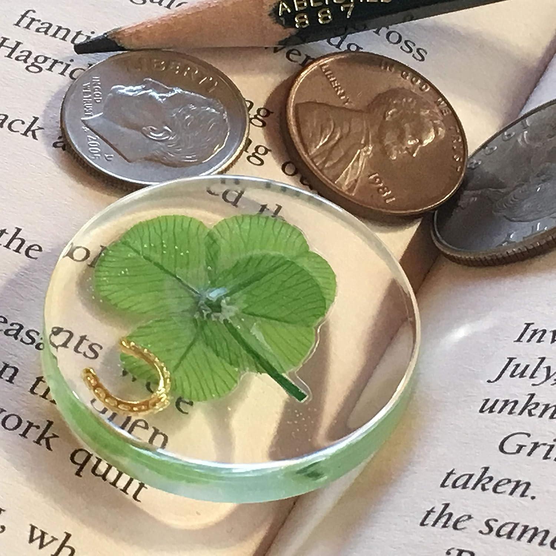 conservado 3.2 cm Incluyendo Objeto de Herradura de Metal, Oro KIN-HEBI Tr/ébol de Cuatro Hojas Real s/ímbolo de Bolsillo de Buena Suerte