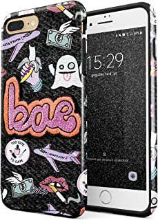 Glitbit Compatible with iPhone 7 Plus iPhone 8 Plus Case Bae Kawaii Aesthetic Crybaby Emoji Tumblr Embroidery Patch Babe Heavy Duty Shockproof Dual Layer Hard Shell + Silicone Protective Cover