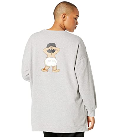 DUBGEE by Whoopi Plus Size Long Sleeve Crew Neck Sweatshirt (Grey) Women