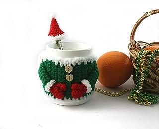 Crochet elf sweater, crochet cup cover, Christmas mug, New Year gift, mug sleeve, green mug warmer, mug cozy, green sweater