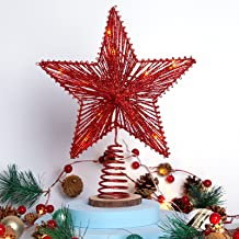 Christmas Tree Topper Star 10 inch Red Glittering Hollow Wire Star Topper with Warm White LED Light, for Home Festive Part...