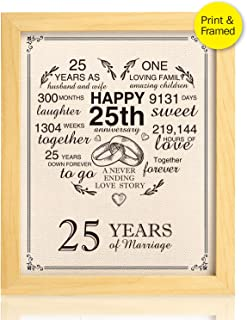 Ihopes Framed 25th Anniversary Heart Burlap Print Decorations, 25 Years Wedding for Men, for Women, for Couple, 8x10inch