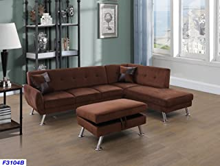 Beverly Fine Funiture Sectional Sofa Set, Chocolate Brown