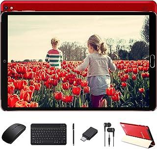 Tablette 10 Pouces 4Go RAM 64Go ROM Android 10 Pro GOODTEL Tablettes Tactile avec 8 Cœurs 1,6 GHz | Double Caméra 5+8MP | WiFi | Bluetooth | MicroSD 4-128 Go, avec Clavier et Souris - Rouge
