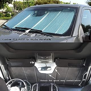 TuningPros CFS-136-S Custom Fit Fold Up Thermal Shade Car Windshield Protector, Sunshade Visor Sun Shade in Silver & Grey 1-pc Set Compatible With 2010-2016 Honda CR-Z