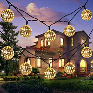 Goodia Outdoor Fairy Lights Solar Powered, 10.49Ft 30 LEDs Moroccan Globe String Lights Golden Wedding Lights, Bedroom Window Garden Patio Decorations, Warm White