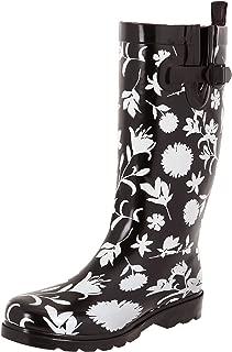 Ladies Shiny Tall Rubber Rain Boots