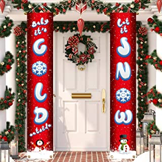 Aneco Christmas Decorations Banner Cold and Snow Christmas Hanging Porch Sign Baby It's Cold Outside/Let It Snow Banner Red Xmas Welcome Christmas Outdoor Sign for Home Wall Door Decorations (color b)