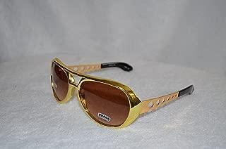 Elvis Gold Sunglasses with Smokey Lens - Aviator Glasses