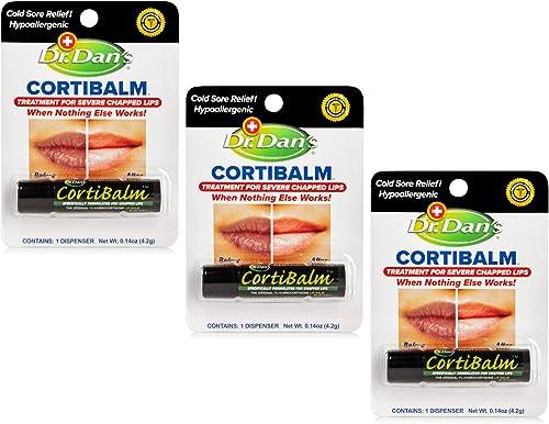 Dr. Dan's Cortibalm -3 Pack -for Dry Cracked Lips - Healing Lip Balm for Severely Chapped Lips- Designed for Men, Wom...