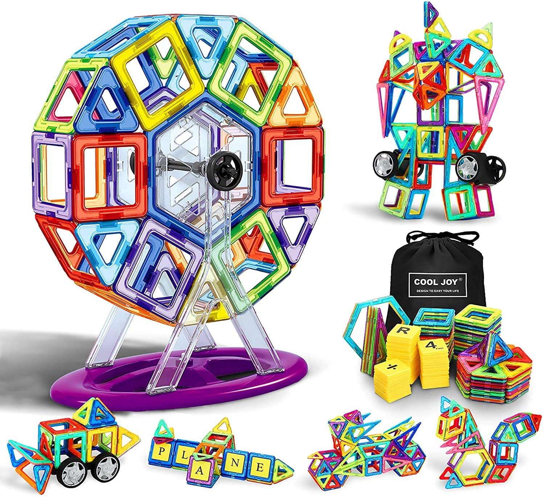 COOLJOY Bloques Magneticos Magneticos, Juguetes Construcciones Magneticas para Niños, 117 Piezas Bloques Magnéticos 3D Juguetes Construcción, con Trae un Libro Tutorial, una Bolsa de Almacenamiento