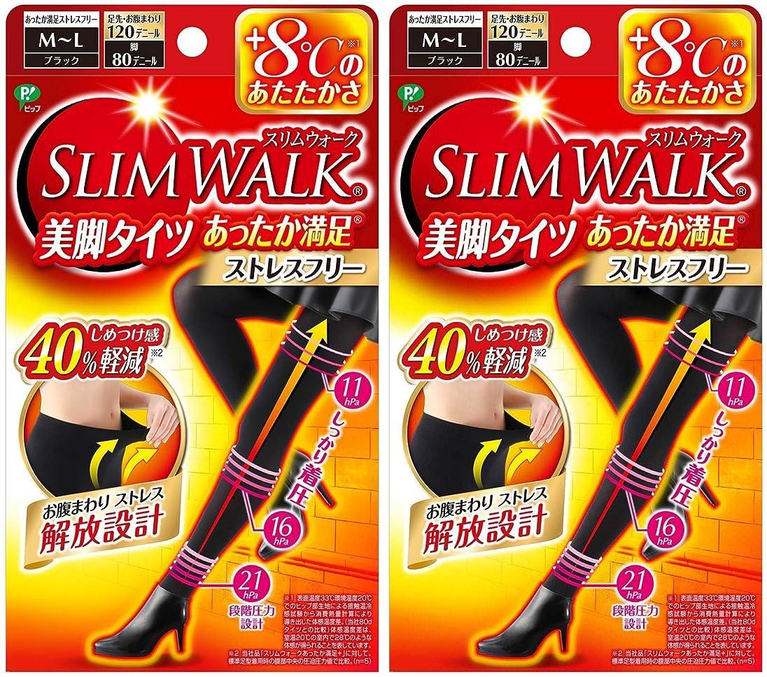 使い込む鮫に話す【2個セット】 スリムウォーク (SLIM WALK) 美脚タイツ あったか満足 おそと用 M~Lサイズ