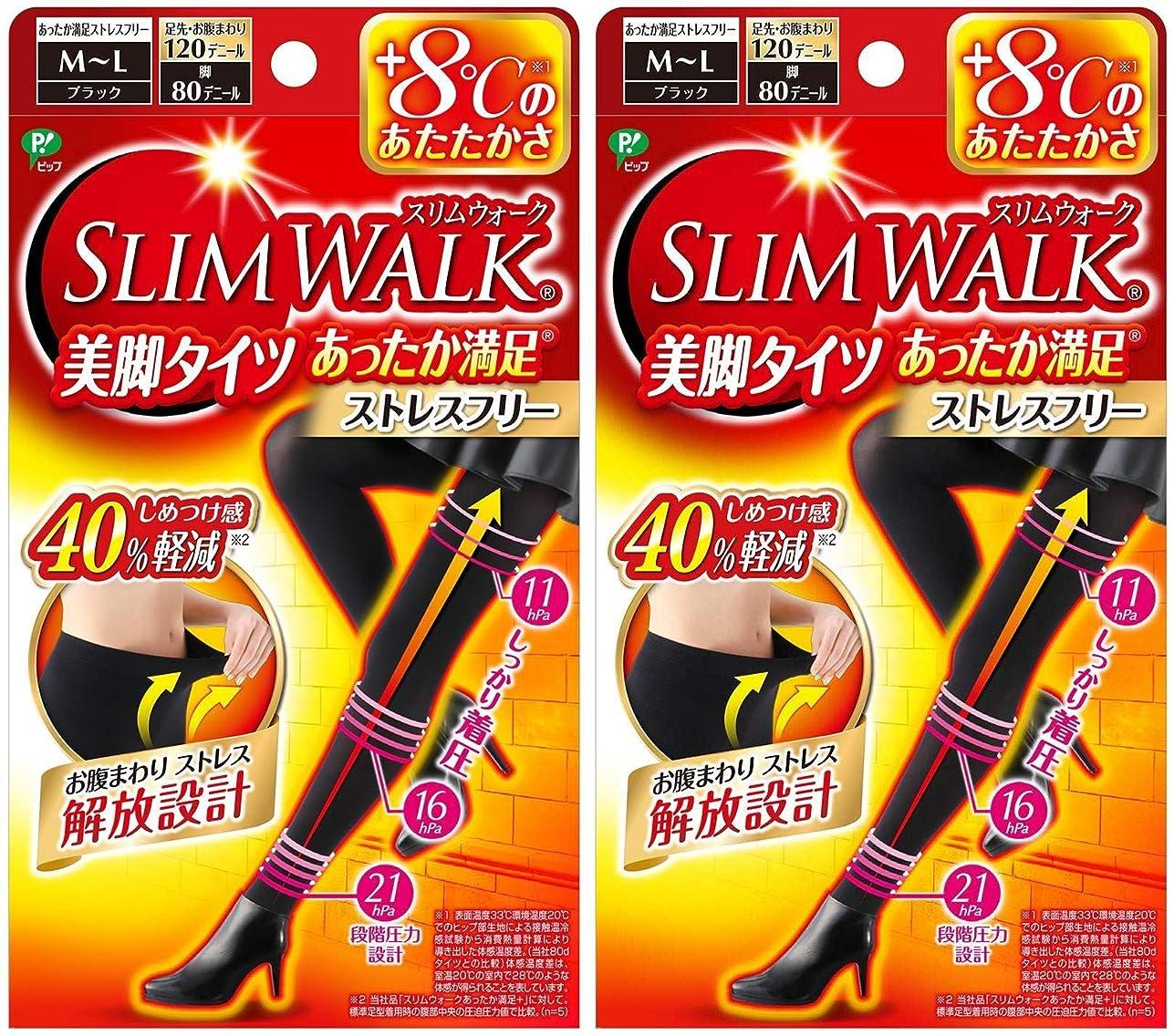 繰り返した憂鬱な担当者【2個セット】 スリムウォーク (SLIM WALK) 美脚タイツ あったか満足 おそと用 M~Lサイズ