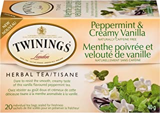 Twinings Tea Herbal Peppermint and Creamy Vanilla 20 Individual Tea Bags/Net Wt. 1.41oz.
