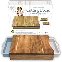 Chopping Board with Tray – White Pale Blue– Wood Cutting Boards for Kitchen - Organic Acacia Butcher Block