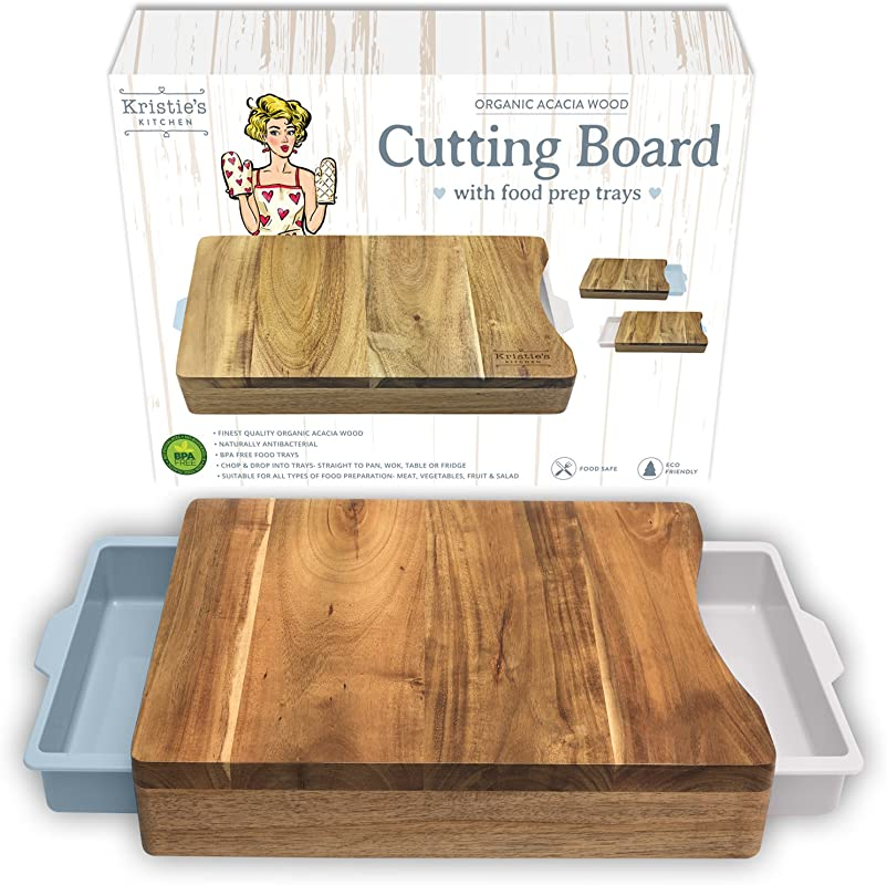 Chopping Board With Tray White Pale Blue Wood Cutting Boards For Kitchen Organic Acacia Butcher Block