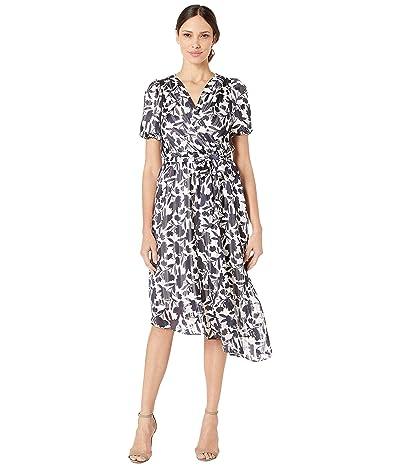 Maggy London Monotone Floral Satin Blouson Dress (Soft White/Navy) Women