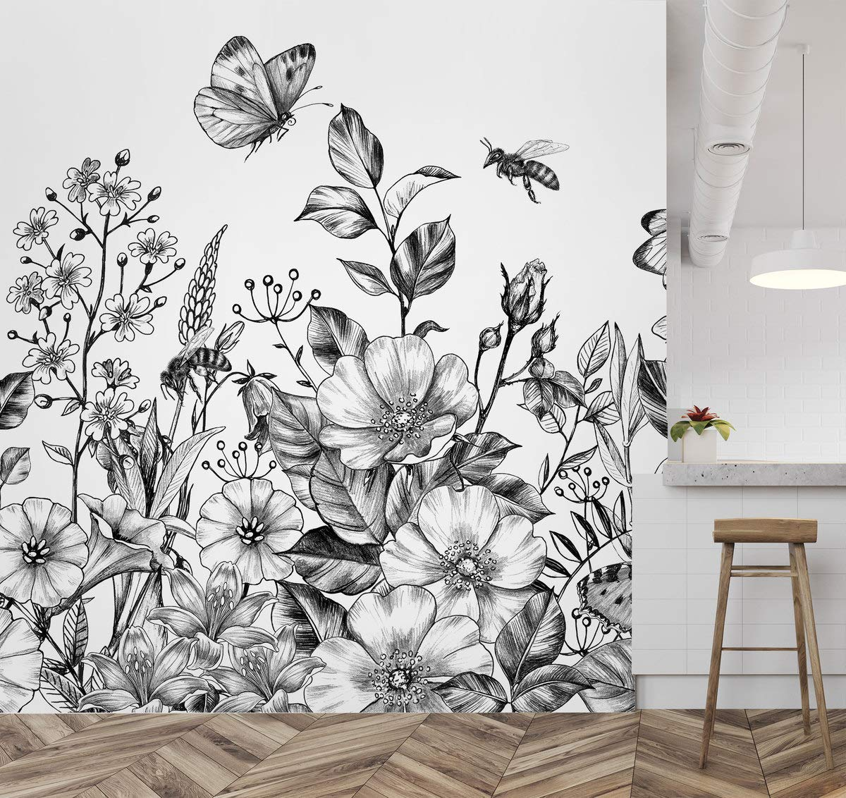 Amazon Com Murwall Floral Wallpaper Black And White Flower Wall Mural Charcoal Floral Wallpaper Living Room Bedroom Cafe Handmade Products