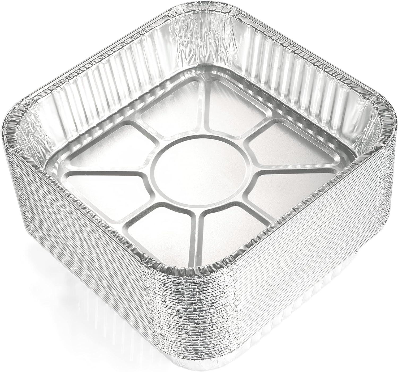 Topics on TV 8x8 Aluminum Pans 30 Pack - Excellence Disposable 8 Baki Square Foil Inch