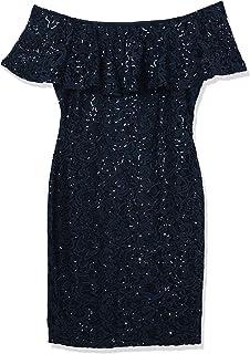 Marina Women's Off Shoulder Sequin Lace Dress