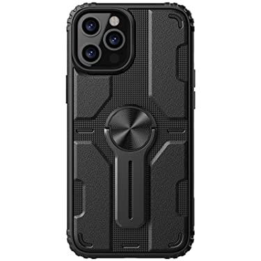 """Nillkin Case for Apple iPhone 12 / Apple iPhone 12 Pro (6.1"""" Inch) Medley Case Military Grade Finish (PC + TPU) Built in Stand (Removable) Raised Bezel for Camera Protect Black"""