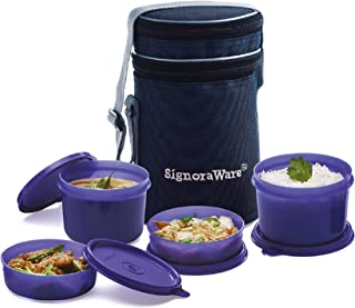 Signoraware Executive Lunch Box with Bag, 15cm, Violet