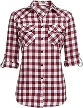 Genhoo Women's Roll Up Long Sleeve Tartan Plaid Collared Button Down Boyfriend Casual Flannel Shirt Top
