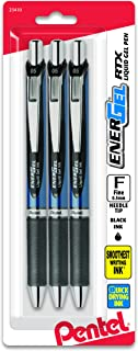 Pentel EnerGel  RTX Retractable Gel Ink Pen, (0.5mm), Needle Tip, Black Ink, 3 Pen Per Pack (BLN75BP3A)