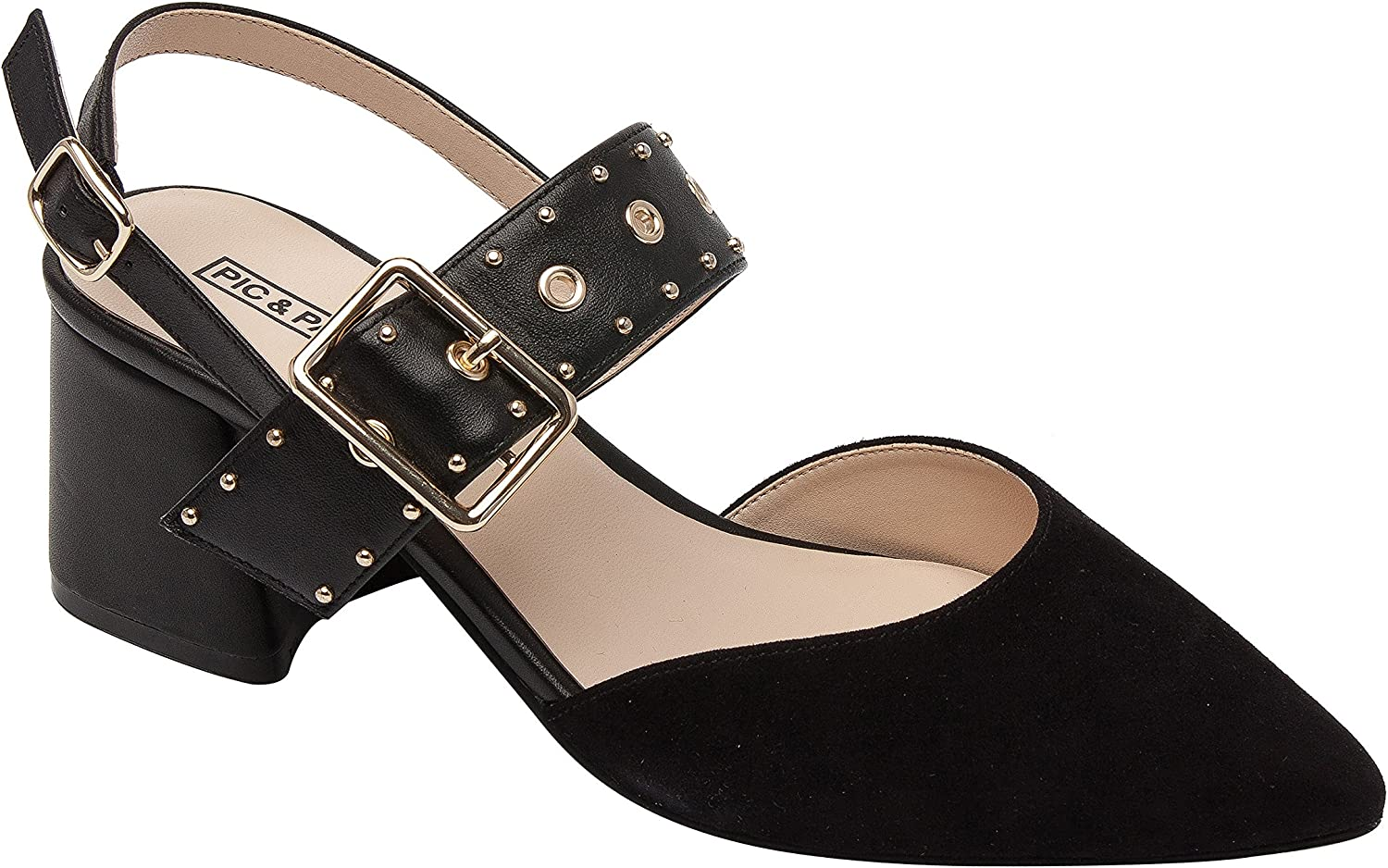 Pic & Pay Naiya   Women's Mid-Height Block Heel Studded Slingback Buckle Pump Black Suede Leather 7M