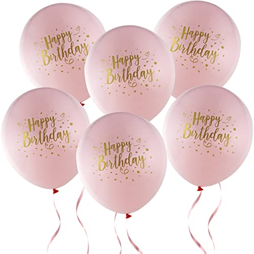 36 Happy Birthday Balloons Girl 12 Latex Pink And Gold Decorations For Baby First