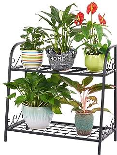 FaithLand 2-Tier Indoor/Outdoor Metal Plant Stand, Flower Pots Holder, Plant Display Rack, Stand Shelf, Shoe Organizer, Utility Storage Organizer Rack