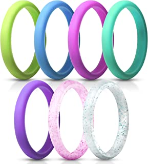 ThunderFit Women's Thin and Stackable Silicone Rings Wedding Bands - 7 Rings / 1 Ring 2.5mm Width - 1.8mm Thick