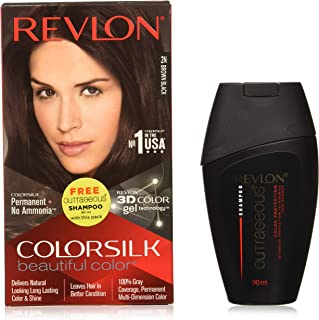 Revlon Colorsilk Hair Color Brown Black 2n With Outrageous Shampoo, 200 ml with Free Outrageous shampoo 90 ml