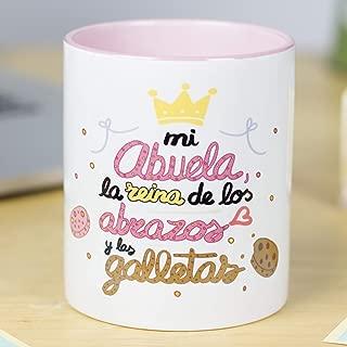 La Mente es Maravillosa - Taza para café o desayuno con mensaje divertido (Mi abuela la reina de los abrazos y las galletas) Regalo Original para Abuela