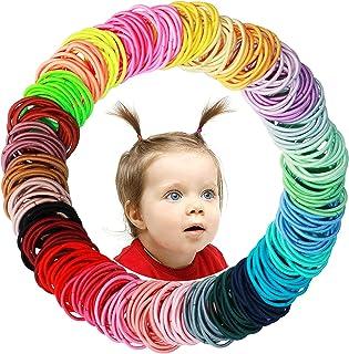 WillingTee Baby Hair Ties Multicolor Baby Girls Hair Ties Finger Hair Ties Thin Hair Ponytail Holder Hair Accessories for ...